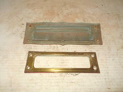 Vintage Heavy Brass Letters Front Door Mail Slot & Interior Plate With Screws