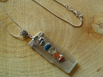 Selenite Pendant Chakra Crystal Reiki Gemstone Moon Healing Necklace Chain Gift