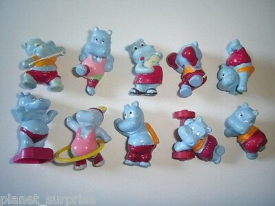 Kinder Surprise Set - Hippopotami Happy Hippos At The Gym Europe 1993 - Figures