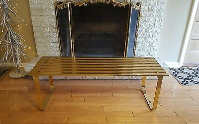 VTG70s Mid Century Modern Milo Baughman DIA Brass Slate Coffee Table Bench/Chair
