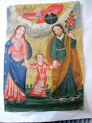Original 1800's Oilpainting On Tin Retablo Of The Holy Famil 9 1/2'' By 13 1/2''