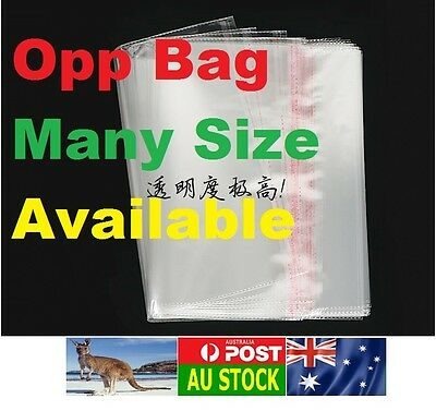 .HQ 100x Plastic Self Adhesive Opp Bags Resealable Seal Clear Many Size AU Local
