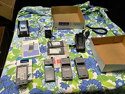 3 vintage motorola flip cell phone microtac piper + box charger manual battery