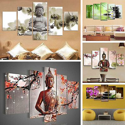 5Pcs/lot Modern Buddha Canvas Wall Picture Print Oil Painting Home Decor