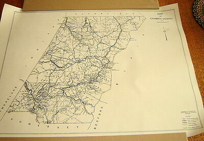 Vintage 1932 Cambria County Pa Wall Map