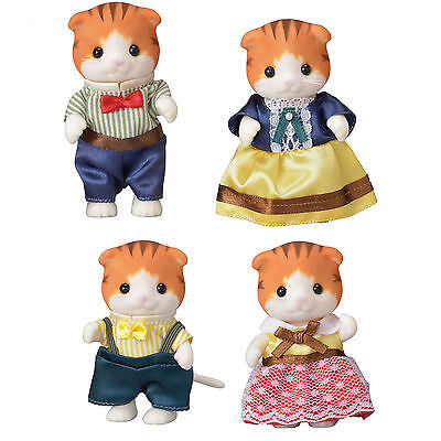 Four Different Sylvanian Families Maple Cats - Father, Mother, Girl and Boy