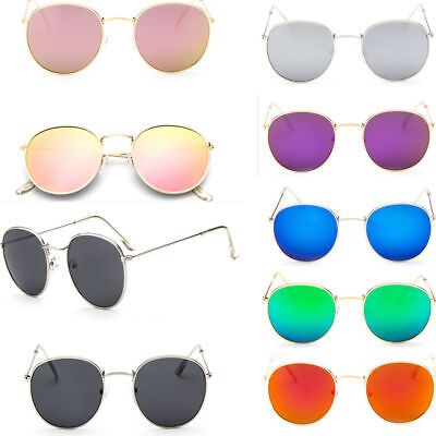 Fashion Men Women's Vintage Round Sunglasses Metal Frame Retro Mirror Glasses