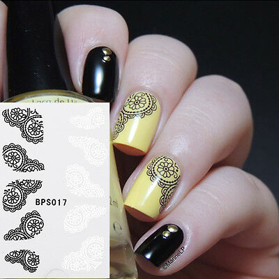 Nail Art Water Transfer Decals Sticker White Black Flower Lace French Decoration