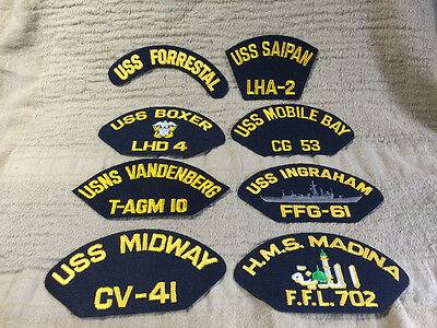 Mixed Lot of 8 US Navy Military Hat Cap Ship Patches - Lot M