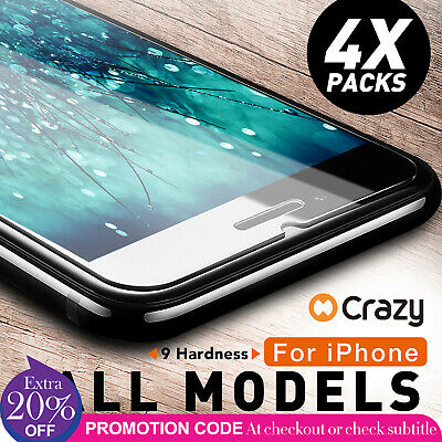 4 X CRAZY Premium Tempered Glass Screen Protector For Apple iPhone 7 6 6S Plus