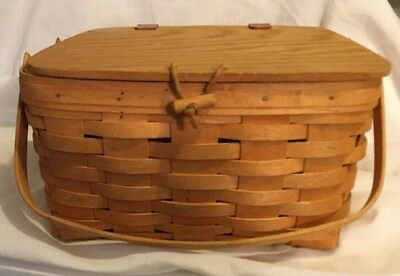 Longaberger Small Picnic Basket With Riser And Lid 1999 2 Swinging Handles