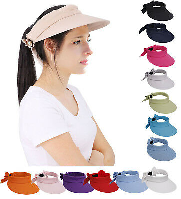 Fashion Girls Wide Brim Plain Visor Sun Hat Cap Adjustable Beach Bow Women Hat