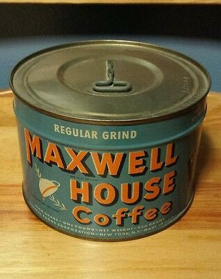 NOS VTG Mid-Century Maxwell House Coffee 1 LB Keywind Tin Can Unopened with Key!
