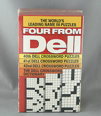 Vtg Set Four From Dell Crossword Books with Dictionary Sealed 40th 41st and 42nd