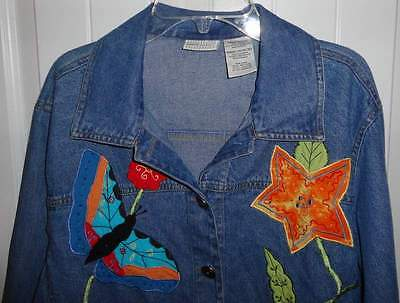 Women Butterflies Appliqued Denim Blue Jacket Coat Long Sleeve Size S Pink Blue