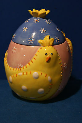 Home China ~  Easter Egg Cookie Jar Quilted Chick Design ~ 9 Inches