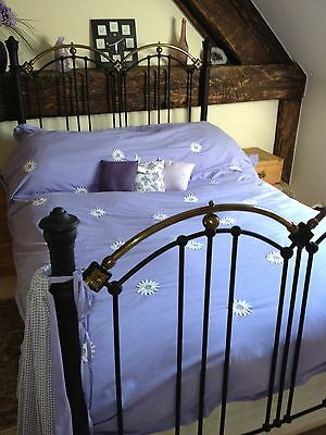 Antique Victorian Double Bed Frame Cast Iron And Brass