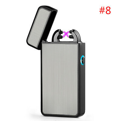 USB Plasma Pulse Lighter Electric Dual Arc Rechargeable Windproof Flameless #8
