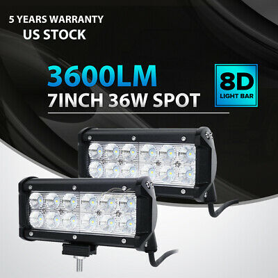 2x 7INCH 36W CREE LED WORK LIGHT BAR SPOT OFFROAD ATV FOG TRUCK LAMP 4WD 12V 6""