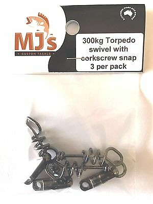 3 x 300kg Torpedo swivels with corkscrew snap. The most secure snap available!!!
