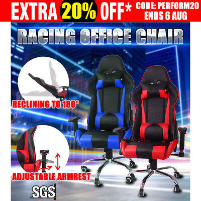 Executive Gaming Office Chair Racing Computer PU Leather Sport Work Recline Race
