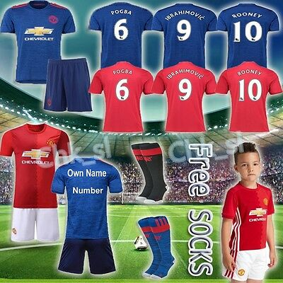 2017 Football Kit Soccer Shirt Short Sleeve Jersey Kid Boy 3-14Y Youth Suit+Sock