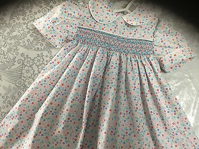 Smocked baby dress New hand made Pink and blue floral size 1
