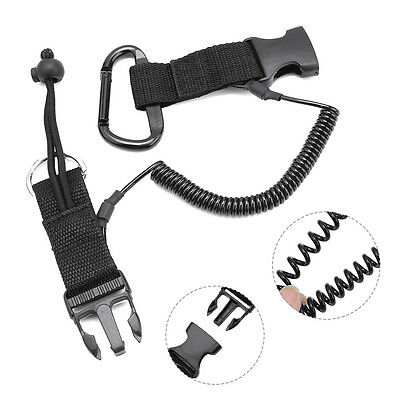 Scuba Diving Lanyard Stainless Steel Coil Lanyard with Buckles for Camera SP