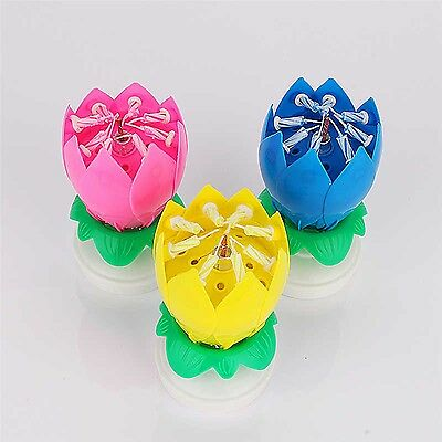 Magic Lotus Flower Candle Birthday Music Spin Party Candle 14 Small Cnadles