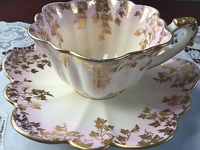 Antique WILEMAN Foley (Pre Shelley) Early Empire Shape Cup And Saucer 'Ivy Print