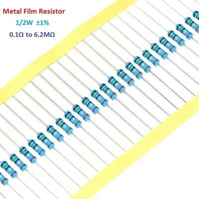 50pcs 1/2W 0.5W Metal Film Resistor 1% Tolerance 0.1 Ohm to 6.2M Ohm