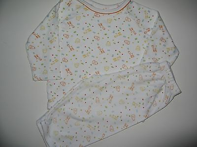 Baby Boys Mothercare White Long Sleeve Jungle Pyjamas 9-12mths - Used Good Cond
