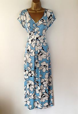M&S Blue White Floral Empire Line Maxi Full Length Holiday Dress UK Size 14 New