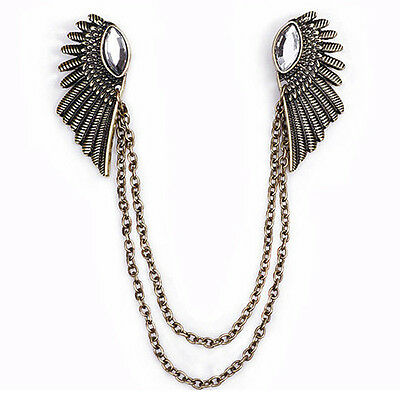Collar Clip chain Blouse Shirt angel Wing Tips pin brooch boho tassel Spirited
