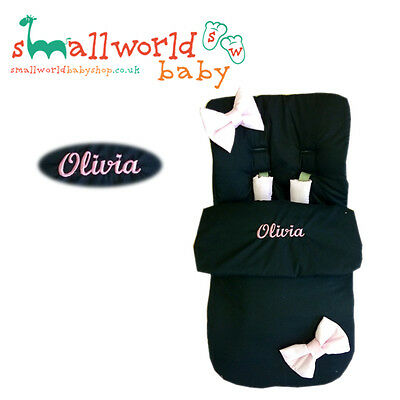 Personalised Black With Pink Bows Footmuff Cosytoes (NEXT DAY DISPATCH)