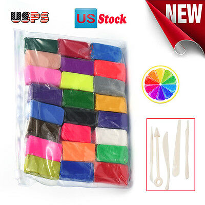 5 Tools 24 Colors Polymer Clay Fimo Block Modelling Moulding DIY Toys
