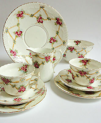 Antique China Teaset Tea for Two Pink Roses Tea cups Milk Sugar Vintage English