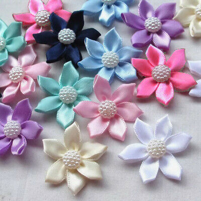 8pcs Satin Ribbon Flowers Bows Rhinestone Appliques Wedding crafts #564