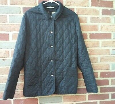 Burberry Women's Quilted Zip Front Jacket Black Nova Check Lining Size Large
