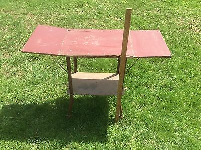 Shabby Vintage Red Country Folding Table, Industrial Printer Table,