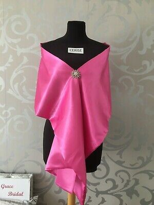 CERISE SATIN SHAWL WRAP STOLE B/MAID WEDDING CRUISE PROM **free samples** BNIP