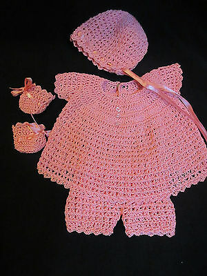 "4 Piece Crocheted Dress Set For 12"" Vogue Baby Dear Doll"