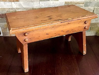 """Wood Stool Rustic Primitive Country Milking Vtg Wooden Bench Footstool Step 17"""""""