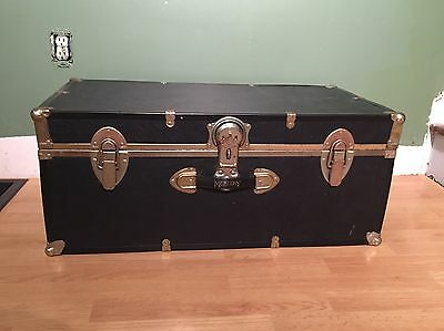VTG Black Steampunk Steamer Trunk Chest Foot Locker Storage Travel Military #2