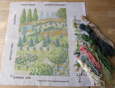 "Ehrman David Merry Tapestry Kit TOPIARY GARDEN needlepoint canvas 18x12""/46x32cm"