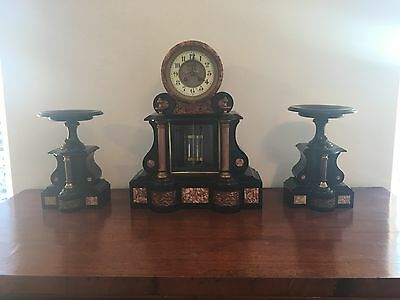 Victorian Slate, Marble, And Brass Mantle Clock With Garnitures