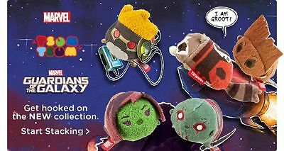 GUARDIANS OF THE GALAXY Tsum Tsum Mini set of 5, Disney Store Authentic NWT