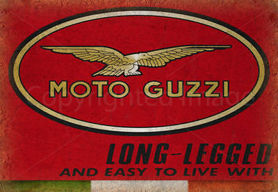 Vintage Garage Moto Guzzi Italian Metal Tin Sign Poster Wall Plaque