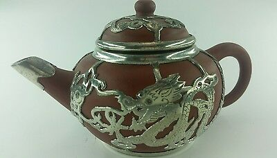 Antique  Chinese Yixing Clay Lidded Teapot With Pewter Dragons