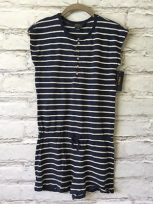 NWT POLO Ralph Lauren Girls Size Large (12-14) Blue White Striped Shorts Romper